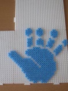 Baby hand hama perler beads by perleshama30