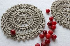 crochet coasters crochet cup pads natural color set of 2 gray natural linen by LinenCabin on Etsy