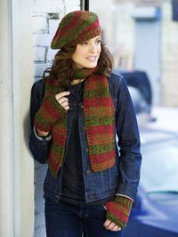 Shaded Knit Scarf, Hat, and Wristers