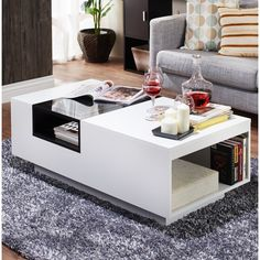 The 5 luxury furniture makers that are true. Centre Table Living Room, Glam Living Room, Living Room Decor, Table Storage, Coffee Table With Storage, Coffee Table Design, Coffee Tables, Coffee Drinks, White Furniture