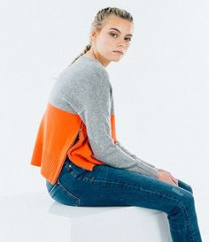 NEW: Colour Block Sweater - Grey Marl/ Coral