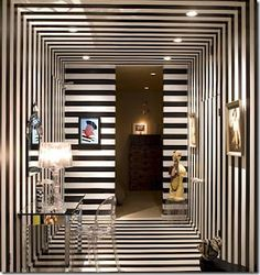 lacquered stripes. walls to ceiling and back.