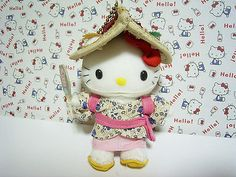 """GOTOCHI HELLO KITTY AOMORI JAPAN Small Plush Doll Mascot Charm Sanrio 2001 *Condition* Unused, NO paper tag. Released by Sanrio JAPAN in 2001 and sold in Japan only. *Size* About  4.5"""" (11.5cm) in height 29.99-38.99 (4.80/4.90/5.90)"""