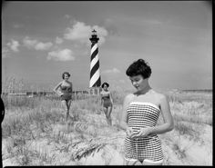 Models ready for a swimsuit shoot at the Cape Hatteras Lighthouse