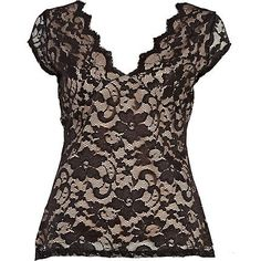 Black V neck lace top - going out tops - tops - women