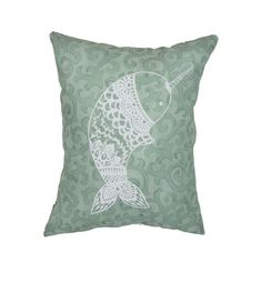"""Hand Printed on Upcycled Fabric """"Nellie the Narwhal"""" Original Design Hand Sewn Pillow with Dried Lavender Flowers in the Stuffing #NellietheNarwhal #Narwhal #Tibet #Narwhale #UnicornoftheSea #Unicorn #Tusk #pillow #Monodon #monoceros #lavenderflower #Greenland"""