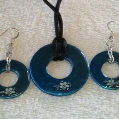 @KyDanJenjewelry Blue #wearableindustrialart necklace & earring set with white flowers. Hand painted. Length is 22in on black cord. from KyDanJenjewelry for $25.00 on Square Market