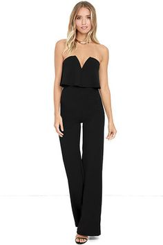 Power of Love Black Strapless Jumpsuit at Lulus.com!