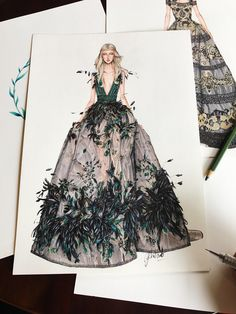 Do you like feathers? I totally love it in this dress from Elie Saab World haute… Do you like feathers? I totally love it in this dress from Elie Saab World haute couture fall Fashion Drawing Dresses, Fashion Illustration Dresses, Drawing Fashion, Fashion Illustrations, Design Illustrations, Dresses Art, Fashion Dresses, Fashion Sketchbook, Fashion Design Drawings