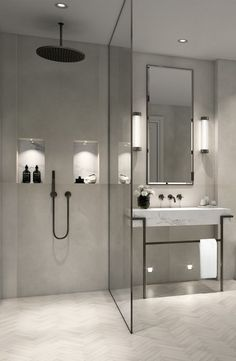 Modern, minimalist bathroom with walk-in shower .- Modernes, minimalistisches Badezimmer mit ebenerdiger Dusche – just luxux Modern, minimalist bathroom with walk-in shower - Modern Bathroom Design, Bathroom Interior Design, Bath Design, Spa Design, Modern Bathrooms, Bathroom Designs, Minimalist Bathroom Design, Modern Bathroom Lighting, Minimal Bathroom