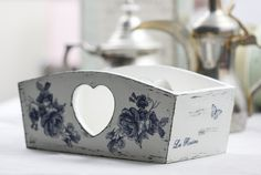 Blue rose wooden box, £12.00
