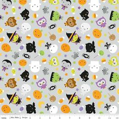 Ghouls and Goodies Main Gray Glow in the Dark by Riley Blake Designs - Halloween - Cotton Quilt Fabric - by the yard fat quarter half Moldes Halloween, Halloween Fabric, Halloween Themes, Halloween Clipart, Halloween Dress, Cute Wallpapers, Wallpaper Backgrounds, Iphone Wallpaper, Screen Wallpaper