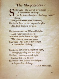 A poem found in a book published in 1921 about a shepherdess. Isn't it lovely.
