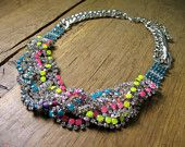 Neon crystal necklace.