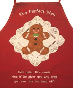 LindeeGEmbroidery, Perfect Man apron from Gingery Christmas