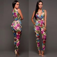 Women Deep V-Neck Sexy Sleeveless Slim Jumpsuit Romper Ladies Summer Party Clubwear Playsuit Long Trousers Xl Fashion, Fashion Prints, African Fashion, Party Fashion, Style Fashion, Fashion Ideas, Fashion Outfits, Womens Fashion, Bodycon Jumpsuit