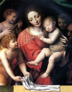 Madonna with the sleeping Christ and the three angels (1532) (92x73) (Paris, Louvre)