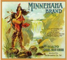 Rialto Minnehaha Indians Orange Crate Label Art Print | eBay