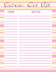 Free Printable Baby Shower Checklist  Baby Shower Gift List