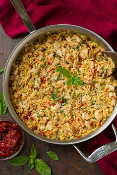 Sun+Dried+Tomato+Basil+and+Parmesan+Orzo+with+Chicken