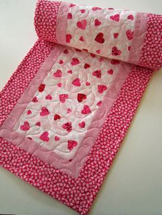 Quilted Handmade Table Runner Valentine by PatchworkMountain, $36.00