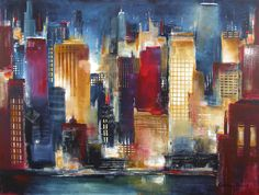 """Chicago Skyline Art - """"Windy City Nights"""" 