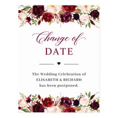 Wedding Date Postponed Burgundy Red Blush Floral Postcard - shower gifts diy customize creative Beautiful Wedding Invitations, Floral Wedding Invitations, Bridal Shower Invitations, Wedding Stationery, Red Blush, Wedding Announcements, Announcement Cards, Wedding Planning, Burgundy
