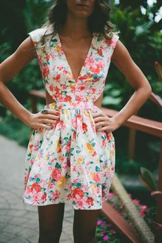cut-out floral dress