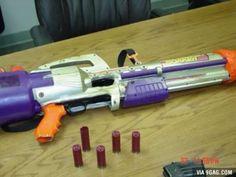 A fully functional shotgun disguised as a toy gun.