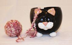 Black Cat Yarn Bowl - Click Image to Close