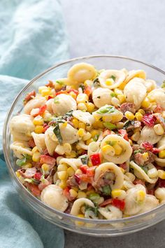 It's summer in a pasta salad! Perfect for a picnic. With corn, bacon, basil, and…
