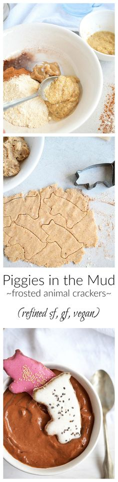 Piggies in the Mud | Frosted animal crackers served with chocolately avocado pudding. Full of nutrients, refined sugar-free, gluten-free, vegan, and so delicious and fun! | simplytothrive.com
