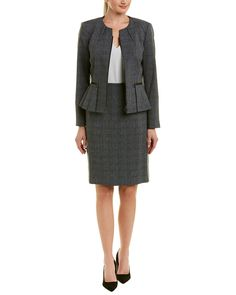 Tahari by Arthur S. Levine Womens Tahari ASL Skirt Suit 10 Black -- Make certain to inspect out this awesome product. (This is an affiliate link). Skirt Suit, Double Breasted, Blazer Suit, Fashion Brands, Topshop, Suits, Boutique, Model, Stuff To Buy