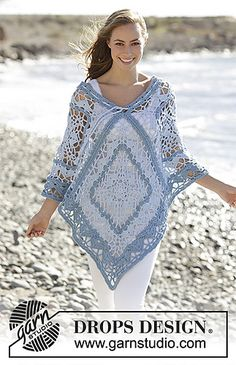 Poncho with crochet squares and stripes in DROPS Paris. Size: S - XXXL.
