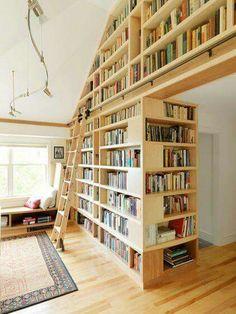 Boekenkast: Voorbeeld van hoe de planken de hoek om kunnen
