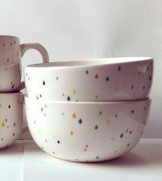 Raindrop Ceramic Cereal Bowls – Set of 2