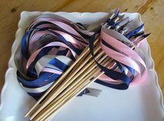 50 Wedding Wands, CUSTOM COLORS to match your wedding, 3 satin ribbons, NO bell, Send off, Nautical Wedding, Boat Wedding, Beach Wedding