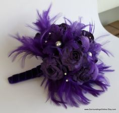 purple feather flowers bouquet | Request a custom order and have something made just for you.
