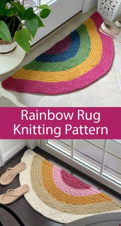 Knitting Pattern for Rainbow Rug Knitting Pattern for Rainbow Rug - Striped semicircular rug is a quick knit in super bulky yarn. Finished size x Designed by Josie Bailey of Peony Knits. Crochet Hooks, Crochet Baby, Knit Crochet, Knitting Patterns, Crochet Patterns, Knit Rug, Quick Knits, Chunky Yarn, Knitting Accessories