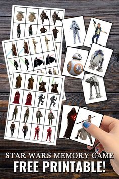 These free printable Star Wars Memory Game Cards are great for playing the classic Concentration game (although you may have called it Matching Pairs, or something else entirely!). featuring lots of Star Wars characters from the movies and series, they are just perfect for Star Wars Day on May the 4th. Just print out the template, cut out the cards and play! Printable Star, Printable Puzzles, Game Cards, Card Games, Party Printables, Free Printables, Disney Themed Cakes, Purple Pumpkin, Star Wars Day