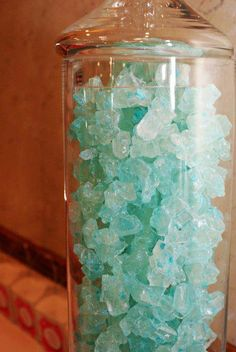 Blue Rock Candy. Would make cute decor with the starfish