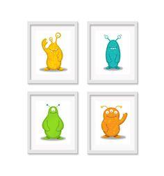 4 Piece Monster / Alien Nursery Art Prints, Nursery Decor, Kid Wall Art, Kid's Decor, Children's Room Decor, Alien / Monster Art