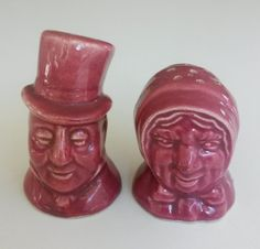 Vintage USA Couple Man Lady Bust Burgundy Pottery Salt and Pepper Shakers
