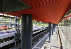 L'incroyable essor de Sécheron. Halte ferroviaire RER de Genève Sécheron réalisée par l'Atelier d'Architecture 3BM3 en 2004. © Thierry Parel
