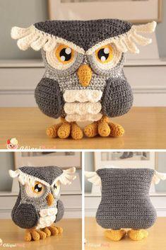 Amigurumi Owl   Crochet Owl   Stuffed Owl   Owl Plush   Stuffed Owl   Grey Owl #ad #owl #amigurumi #amigurumidoll #amigurumitoy #amigurumiaddict #amigurumilove #nurserydecor #stuffed #plush