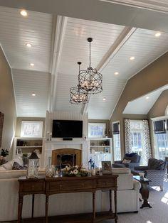 living room goals! Living Room Goals, Transitional Decor, Custom Lighting, Living Room Lighting, Cage, Dining Room, Ceiling Lights, Traditional, Antiques