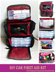 DIY Car First Aid Kit : includes free printable of items to put into kit. DIY Car First Aid Kit : includes free printable of items to put into kit. Emergency Preparation, Survival Prepping, Emergency Preparedness, Survival Gear, Emergency Kits, Survival Skills, Emergency Binder, Emergency Planning, Survival Quotes