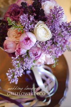 GrisFlowerdeco(グリフラワーデコ) バラ・ライラック もっと見る Beautiful Bouquet Of Flowers, Beautiful Flower Arrangements, Purple Flowers, Floral Arrangements, Beautiful Flowers, Pastel Bouquet, Floral Bouquets, Wedding Bouquets, Flower Planters