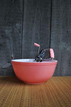 vintage pink baking set pyrex bowl and hand by vagabondmerchant