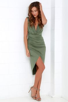 Partington Cove Olive Green High-Low Wrap Dress at Lulus.com!